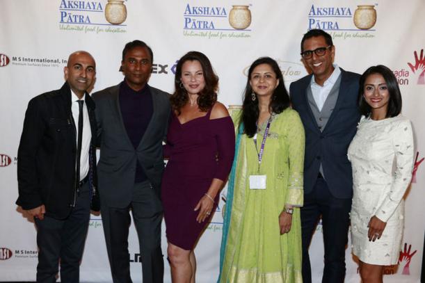 (l-r): Rajiv Satyal, Dr. Shiva Ayyadurai, Fran Drescher, Vandana Tilak, Neel Grover and his wife