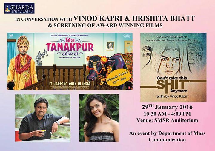 Sharda University holds screening of 2 of Vinod Kapri's films at its Department of Mass Communication