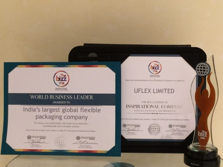 Uflex ltd. bags 'The Bizz 2016' Award