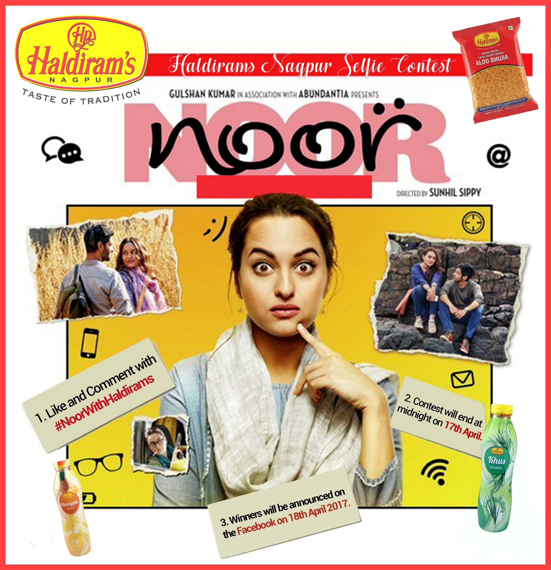Haldirams, Haldirams Nagpur, Haldirams Nagpur Reviews, Haldirams Contest, Haldirams Offer, Noor Movie Contest