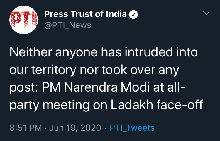 no one had intruded pm modi